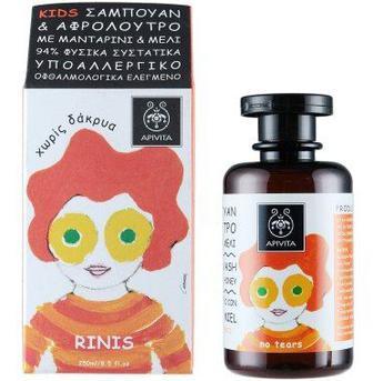 Средство Apivita для мытья волос и тела Кидс с мандарином и медом 250 мл