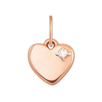 Золотая подвеска «Сердце» с фианитом.