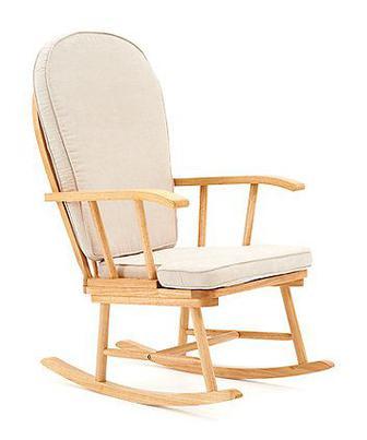 Крісло-гойдалка з кремовими подушками від Mothercare