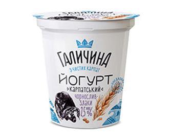 Йогурт «Галичина» «Карпатський» чорнослив-злаки 2,5% жиру, 280г