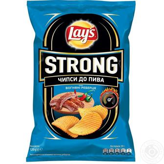 Чіпси картопляні Макс сальса, Стронг вогняні реберця Лейс 120г