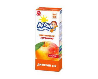 Сік «Агуша» без цукру яблучний з м'якоттю, 200 мл