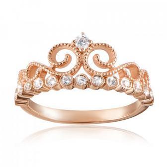 Золотое кольцо «Корона» с фианитами. Артикул 13218/01/0/44