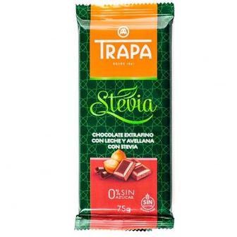 Шоколад молочный с лесным орехом и стевией Trapa Stevia 75г