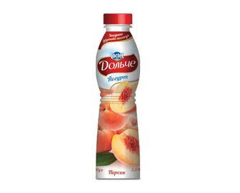 Йогурт «Дольче» 2,5% жиру з наповнювачем персик, 0,5кг