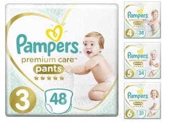 Подгузники-трусики Pampers Premium Care 31,34,38,48шт