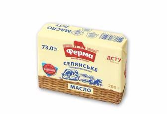 Масло  солодковершкове Селянське, 73%  Ферма 200 г