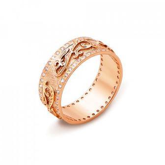 Обручальное кольцо с фианитами. Артикул 10132/2