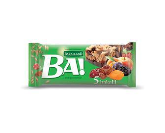 Батончик Bakalland Ba! злаковий 5 сухофруктів, 40 г