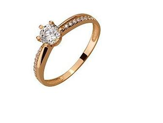 Золотое кольцо с фианитами Артикул 01-17408678