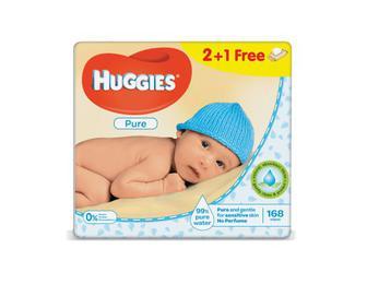 Серветки дитячі Huggies Pure 2+1 Free 168 (3х56) шт./уп