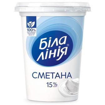 Сметана Біла лінія 15% стакан 350г