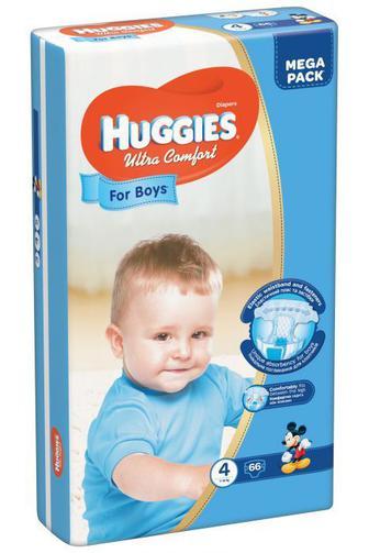 Скидка 25% ▷ Подгузники Huggies Ultra Comfort для мальчиков р4 8-14 кг 66 шт