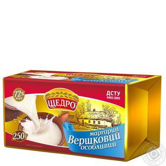 Маргарин Щедро Сливочный Особый 72% 250г
