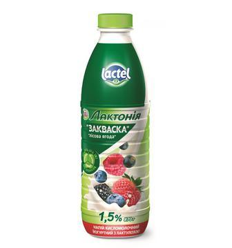 Напій йогуртний злаки, лісова ягода Закваска Лактонія 1,5% з лакт., 870 г