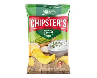 Чипси Flint Chipster's натуральні зі смаком сметани та зелені, 70г