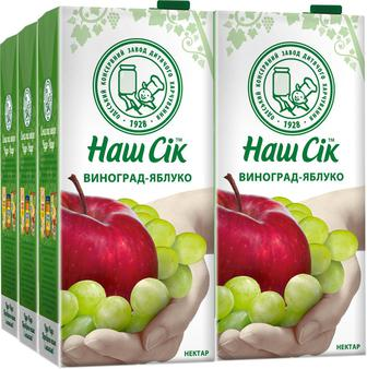 Наш Сок Виноградно-яблочний из белых сортов винограда 1.93 л