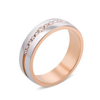 Обручальное кольцо комбинированное с фианитами 10147-3/14/1/287