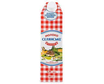 Молоко ультрапастеризоване «Селянське» 3,2% жиру, 950г