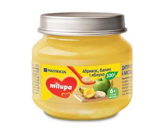 Пюре Milupa яблуко-банан-абрикос, 100г