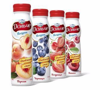 Йогурт питний Полуниця, Персик, 2,5% Дольче 500 г