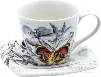 Чашка з блюдцем Батерфляй 220 мл QY06-057