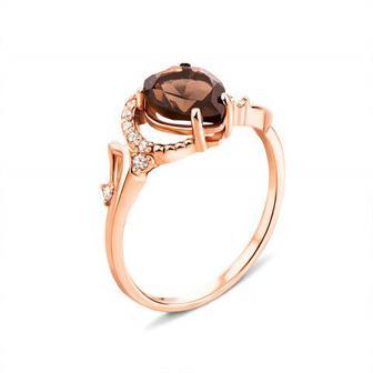 Золотое кольцо с раухтопазом и фианитами (530123/раух с)