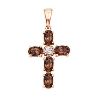 Золотой крестик с раухтопазом и фианитом (50441/раух)