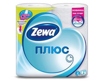 Папір туалетний Zewa Плюс 2-шаровий білий, 4рулони/уп
