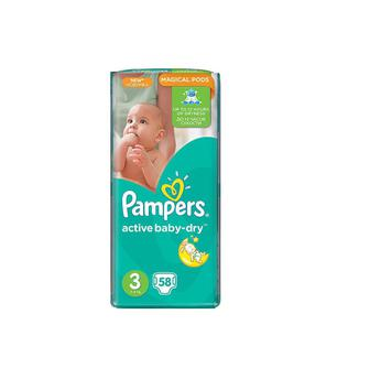 Подгузники Pampers Active Baby-Dry Midi 3 (5-9 кг) 58 шт