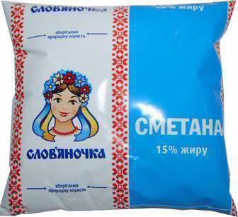 Сметана 15% Слов'яночка, 380г