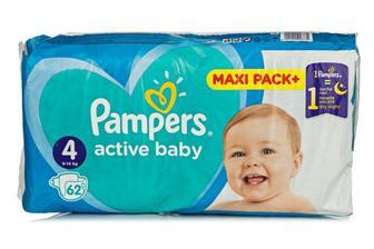 Скидка 25% ▷ Подгузники PAMPERS Active Baby-Dry р4 9-14кг 62шт
