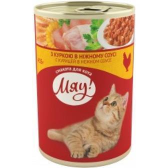 Консервований корм для дорослих котів Мяу  415 г