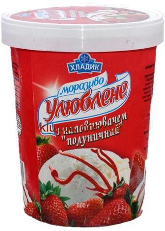 Морозиво Хладик Улюблене полуниця карт500г
