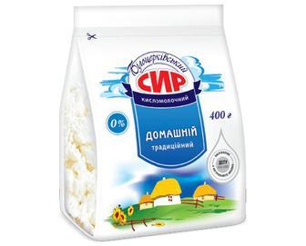 Сир кисломолочний «Білоцерківський» «Домашній традиційний» 0% жиру, 400г