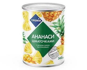 Ананас «Премія»® шматочки в легкому сиропі, 565г