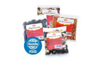 Асорті фруктово-горіхове, горіхове, Мигдаль сушений, Чорнослив вялений Вигода 125 г,200 г