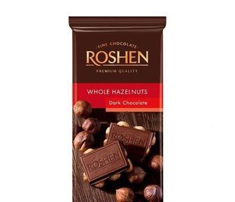 Шоколад экстрачёрный с целым лесным орехом, Roshen, 90г