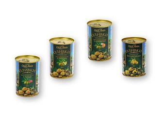 Оливки консервовані зелені без кісточки/фаршировані пастою з креветок/з лимону/з тунця Своя Лінія 280 г