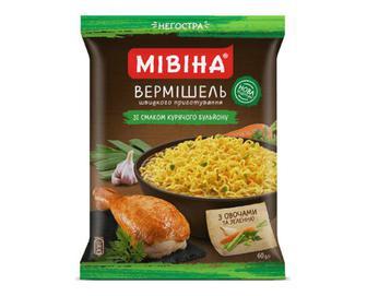 Вермішель «Мівіна» зі смаком курячого бульйону з овочами та зеленню негостра, 60г