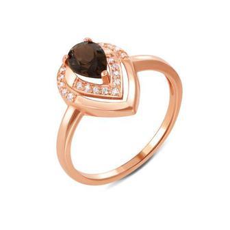 Золотое кольцо с раухтопазом и фианитами. Артикул 530108/раух сп