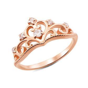 Золотое кольцо «Корона» с фианитами. Артикул 12337